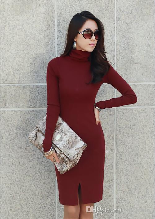 New Korean Women Winter Dress,Turtle Neck Long Sleeve Split Design ...