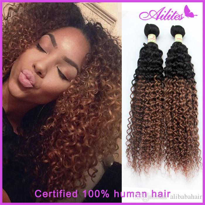 virgin brazilian hair extensions kinky curly wave 3 bundles Two Tone Color 1b/30 gold