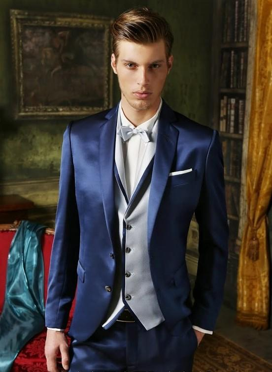 Blue Grooms Tuxedos Wedding Suits For Men Notched Lapel Mens Suits ...