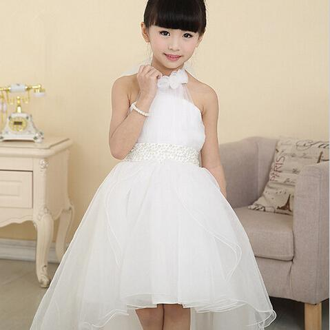 White Lace Long Tail Wedding Kids Dresses For Girls 2016