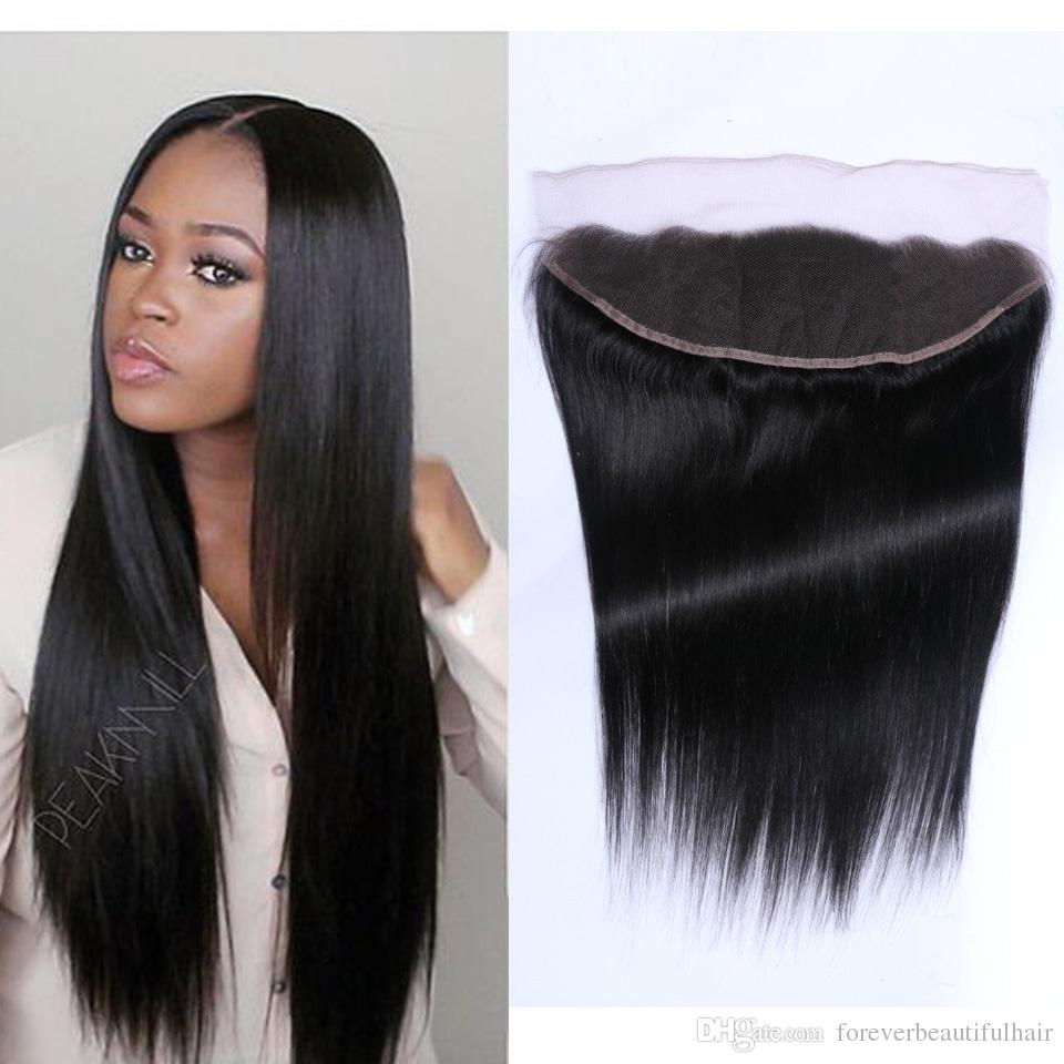 "8A Peruvian Lace Frontal Closure Human Hair 13x2""&13x4"" Bleached Knots Virgin Straight Full Lace Frontal Pieces Ear to Ear"