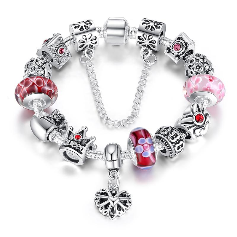 New Fashion Pandora 925 Silver Charms Bracelet \\u0026amp; Bangles With Queen Crown Pink Flower
