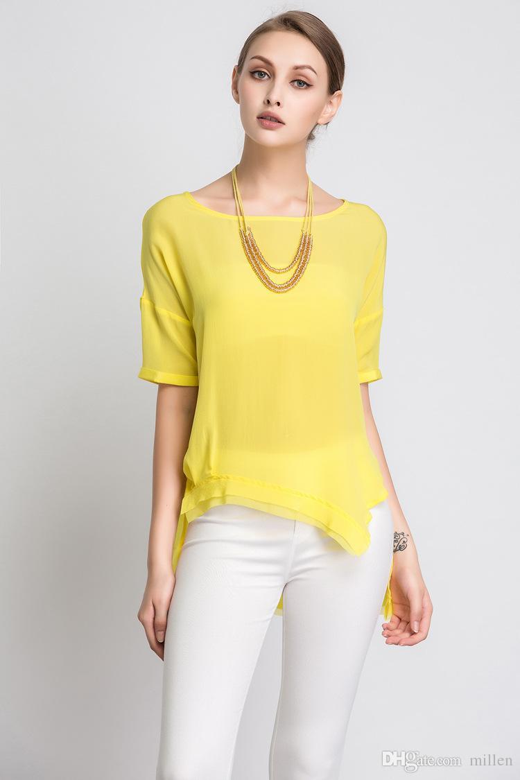 Design your own t-shirt female - Women Real Silk Top Green Yellow T Shirt Create Your Own T Shirt Design White T Shirt Design From Millen 23 03 Dhgate Com