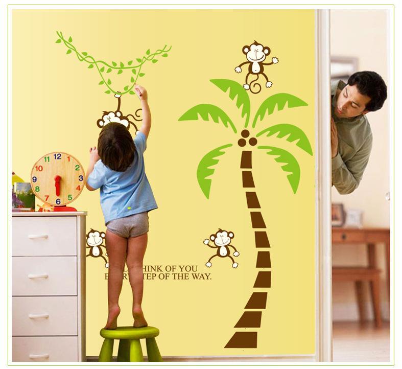 Creative Cartoon Monkey On Palm Nursery School Children Baby Room