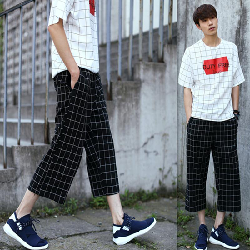 2017 8 Summer New Men'S Casual Pants Cropped Pants Men Straight ...