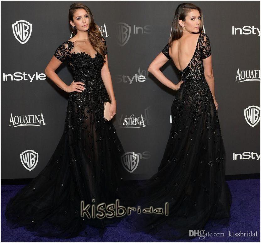 Nina Dobrev 2016 Black Evening Dresses Celebrity Gowns Sheer Jewel ...