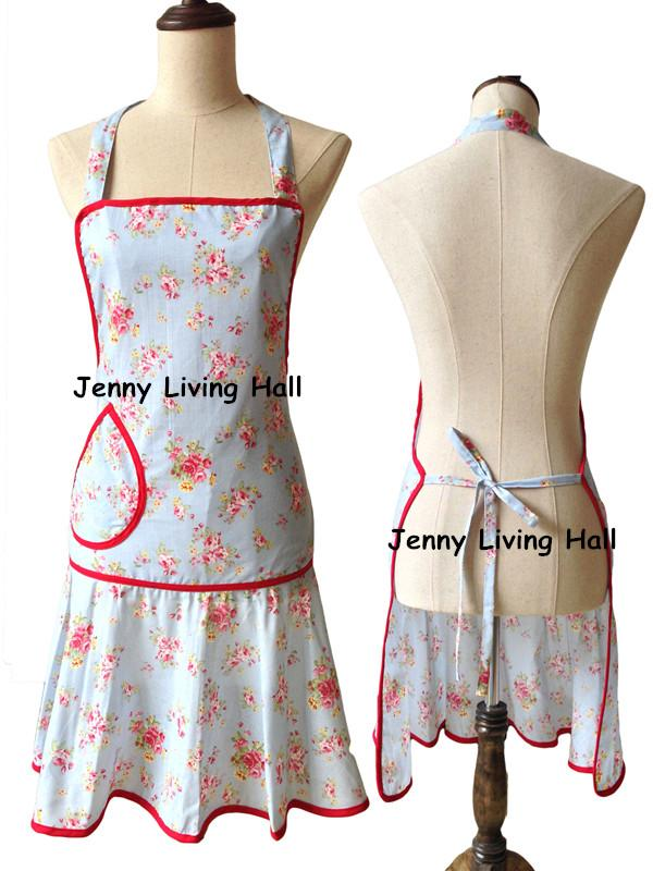Vintage Women Kitchen Apron Cooking Retro Blue Floral Rose Cotton Bandana Branded Waterproof Apron With Pocket Aprons For Kids Novelty Aprons From Jackying