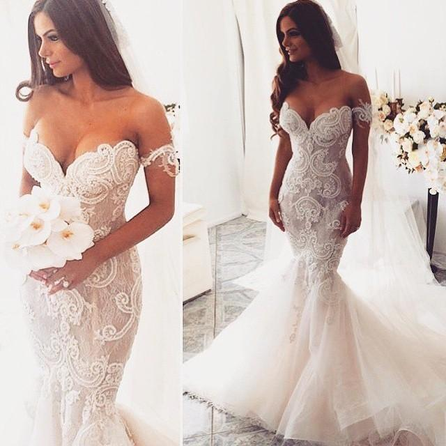 2016 Sexy Lace Mermaid Wedding Dresses Removeable Off Shoulder Straps Embroidery Lace Organza