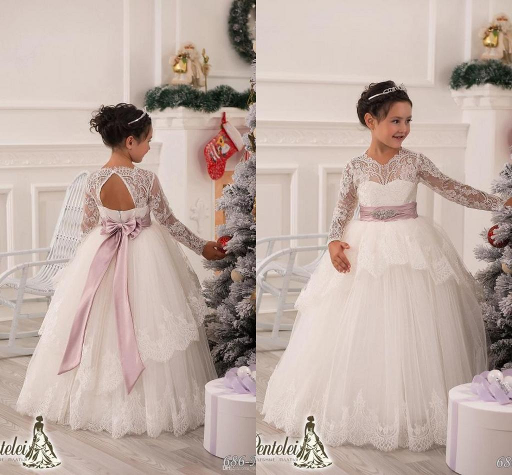 Cute 2015 Flower Girls Dresses With Long Sleeves Lace White Ball ...
