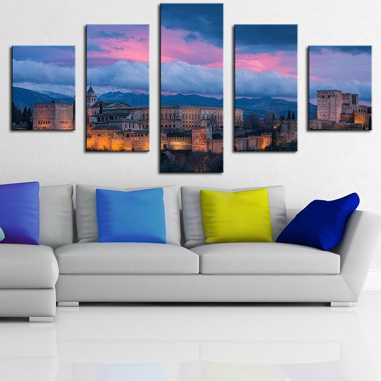 5 Panel Alhambra Spain Abstract Painting Oil Modern Home Wall Decor Canvas  Picture Art Print Wall Painting Canvas Arts Unframed Vertical Oil Paintings  Fo ... Part 19