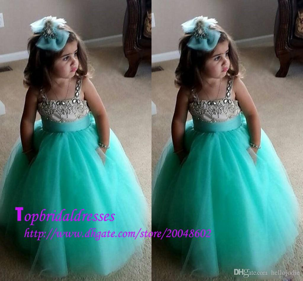 Wedding Mint Flower Girl Dresses 2015 hot sale mint green flower girls dresses with crystal spaghetti tulle princess kids formal wear for wedding prom party girls