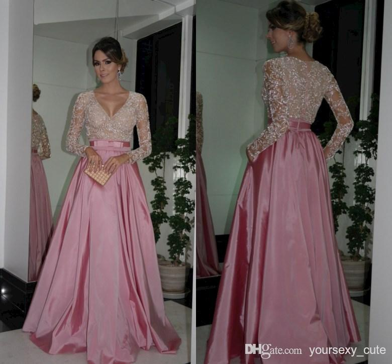 Taffeta Crystals Long Sleeve Evening Gowns Cheap Celebrity Dress ...