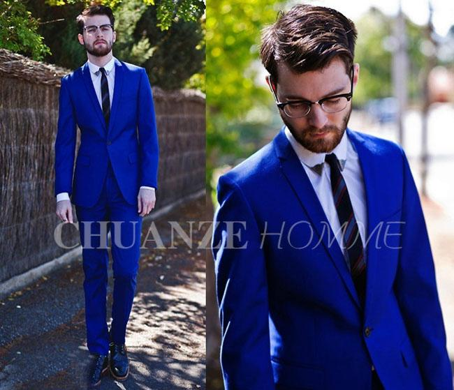 Custom Made Hot Slim Fit Groom Tuxedos Royal Blue Peak Lapel A ...