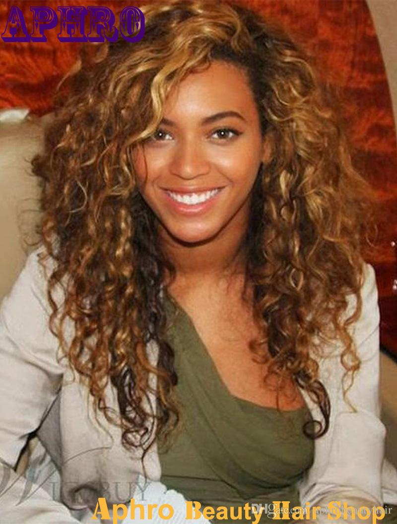 Cheap Beyonce Curly Glueless Full Lace Hman Hair Blond