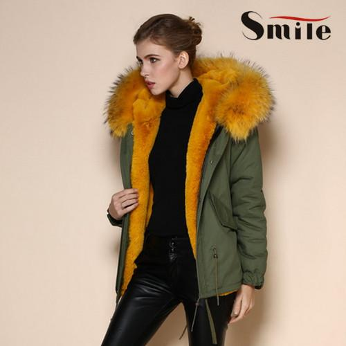 Womens Famous Brand Genuine Fox Fur Lining Hood Parka Jacket Woman ...