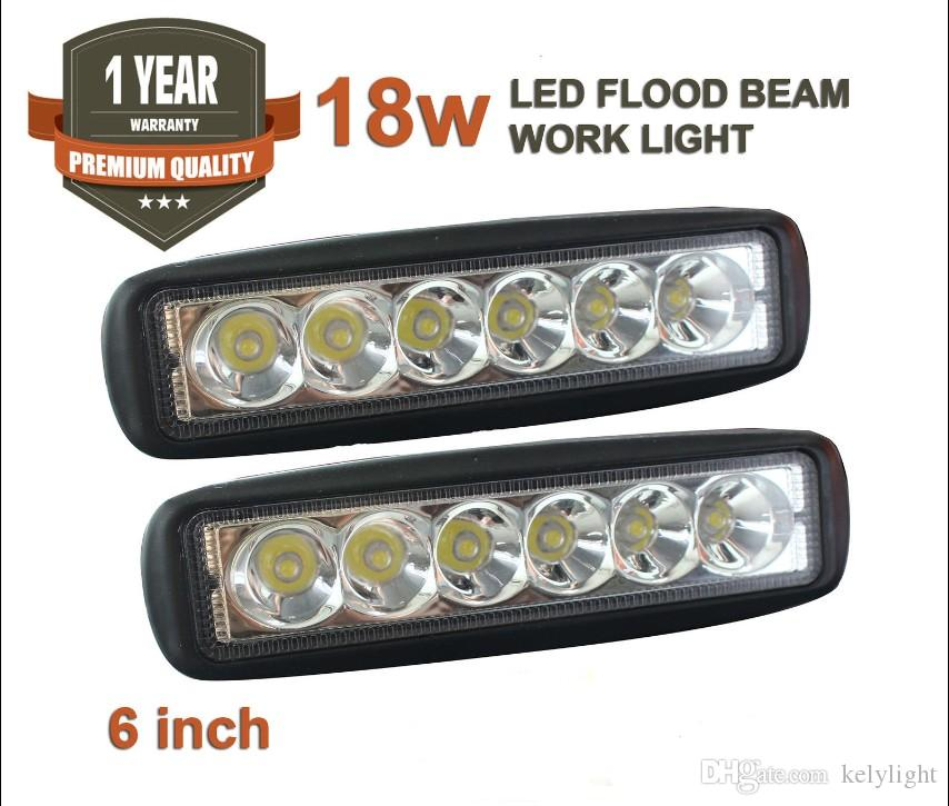 18W 12-80V 6inch LED Light Bar Driving Lamp 90 degrés Inondation Offroad UTE 4WD