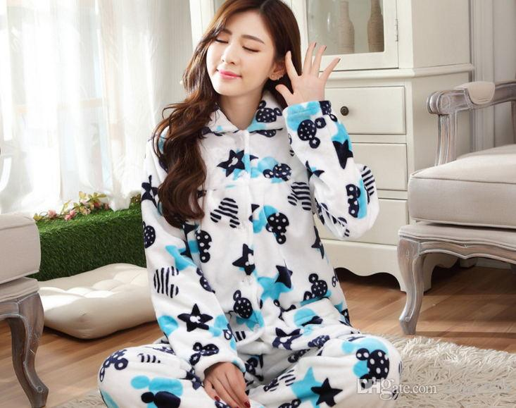 2017 Thick Flannel Pajamas Lady Blue Star Home Furnishing Suit ...