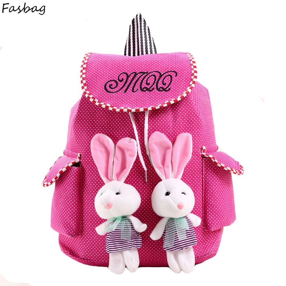 Canvas Backpack Rabbit Kid Drawstring Bag Kids School Bags For ...
