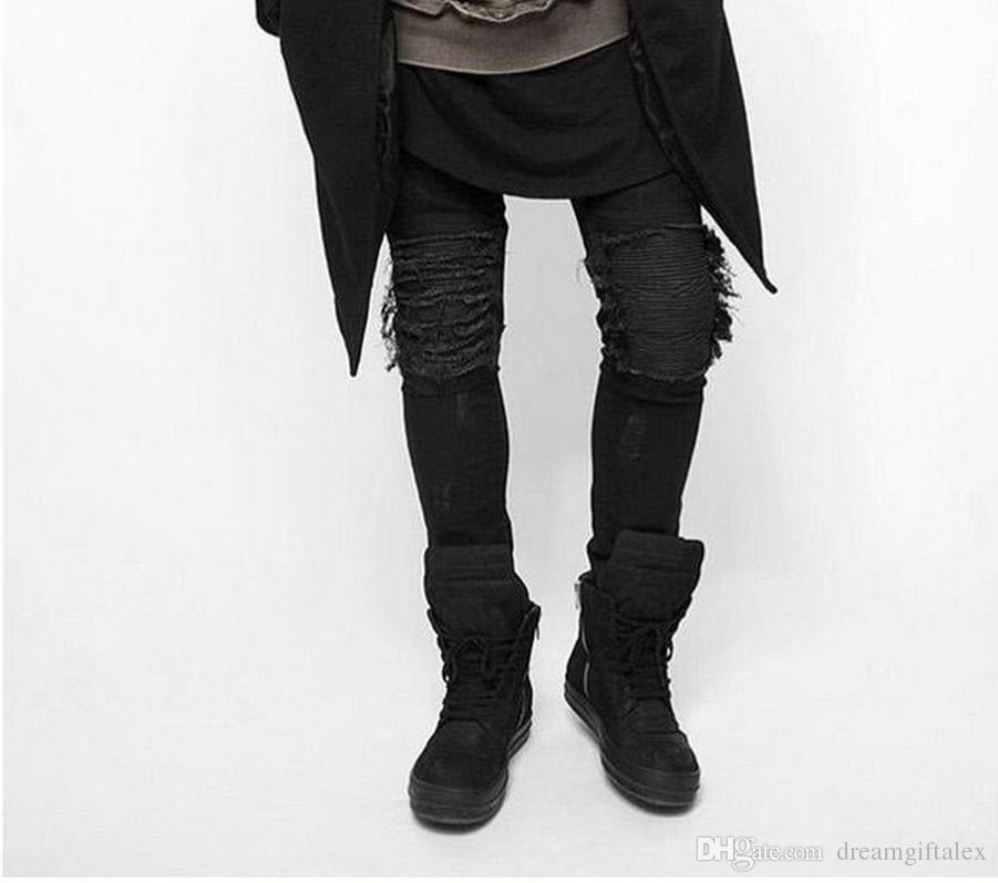 High Quality Mens Ripped Jeans Cotton Black Slim Fit Motorcycle ...