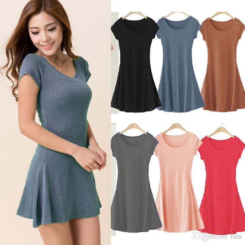 Women Summer Dress New Korean Girl Mini Dress Short Sleeve Candy ...