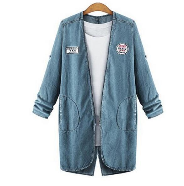 2017 Gibsie Plus Size 5xl 4xl Xxxl Denim Jacket Women Spring