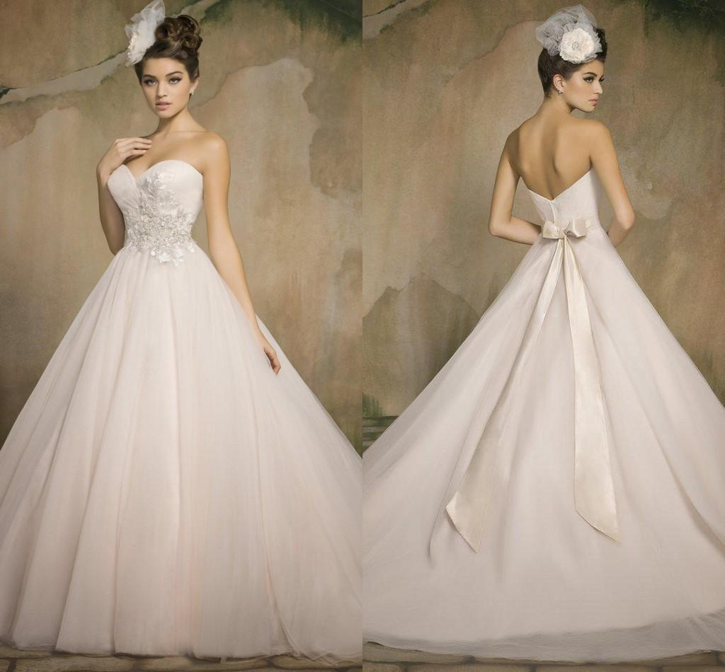 Blush Or Ivory Wedding Dresses : Blush white ivory bow wedding dresses a line sweetheart backless