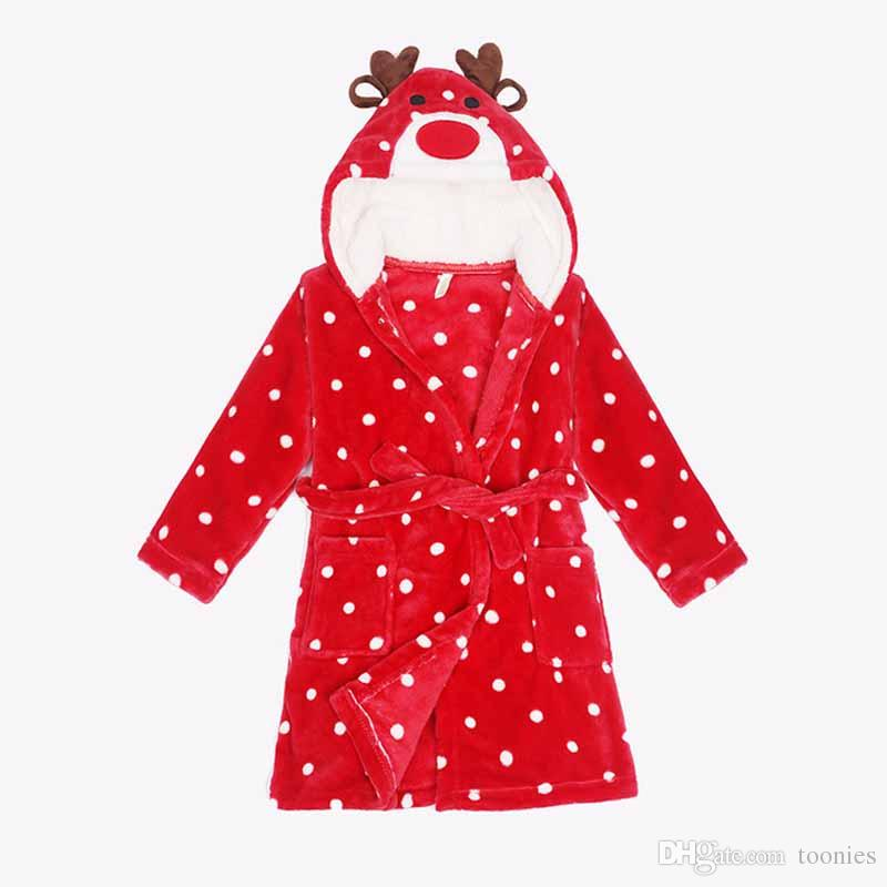 Kids Christmas Pajamas Flannel Fleece Long Sleeve With Hood ...