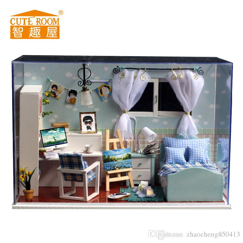 2016 new wooden dollhouse furniture kids toys handmade gift diy doll house kits with led stuff cheap wooden dollhouse furniture