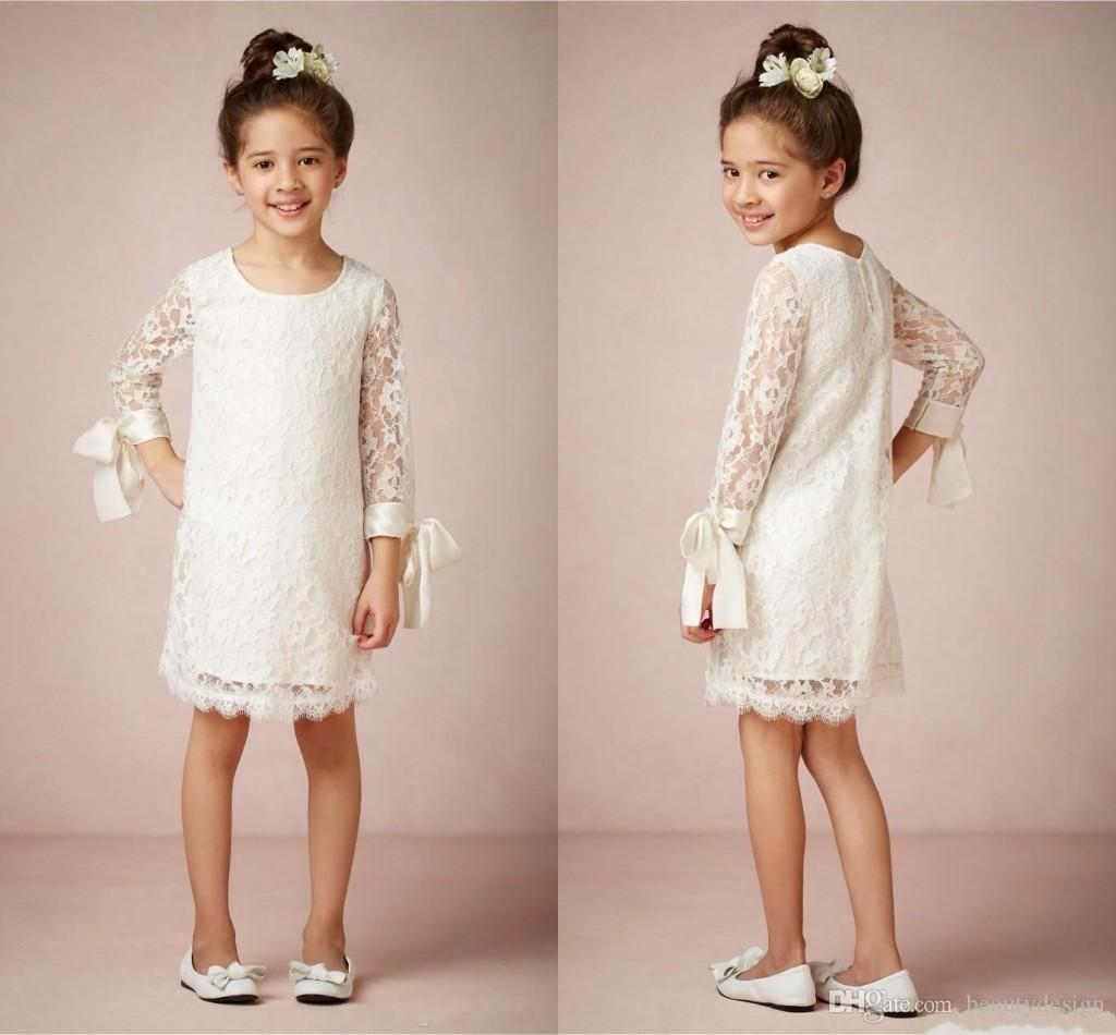 Cheap Vintage 2016 Flower Girls Dresses with Long Sleeves for Weddings Jewel