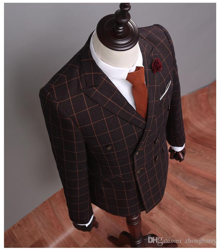 2017 Customized Double Breasted Brown Check Suits Groomsman ...