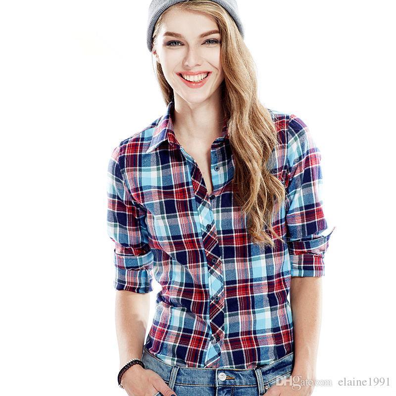 2017 cotton plus size plaid shirt female ladies flannel for Women s plus size plaid shirts