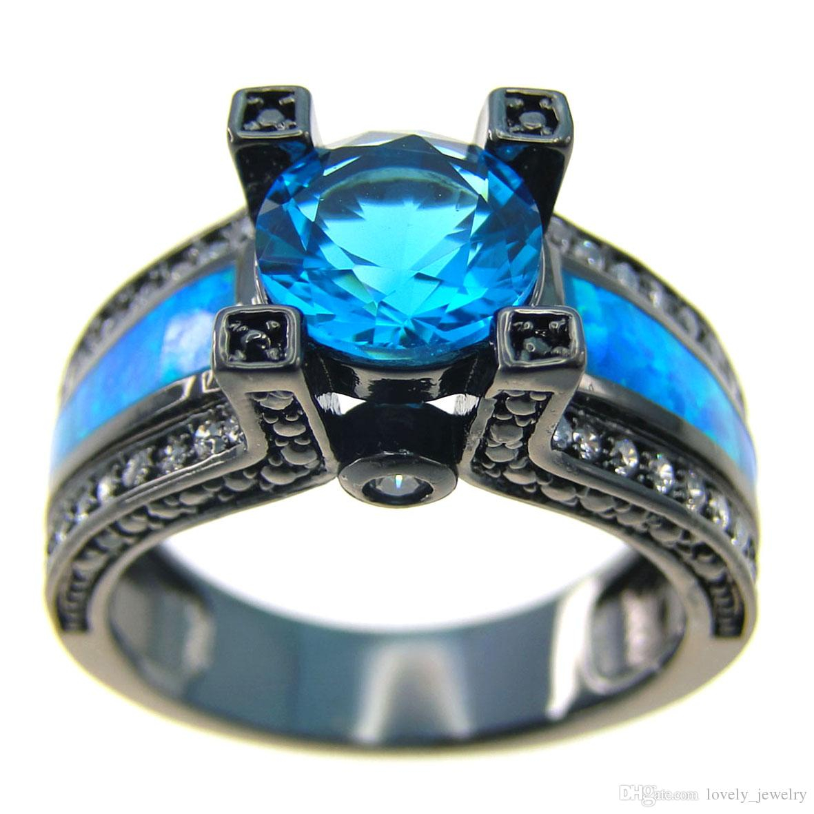 2017 New Blue Opal Female Ring Blue Round Zircon Black Gold Filled