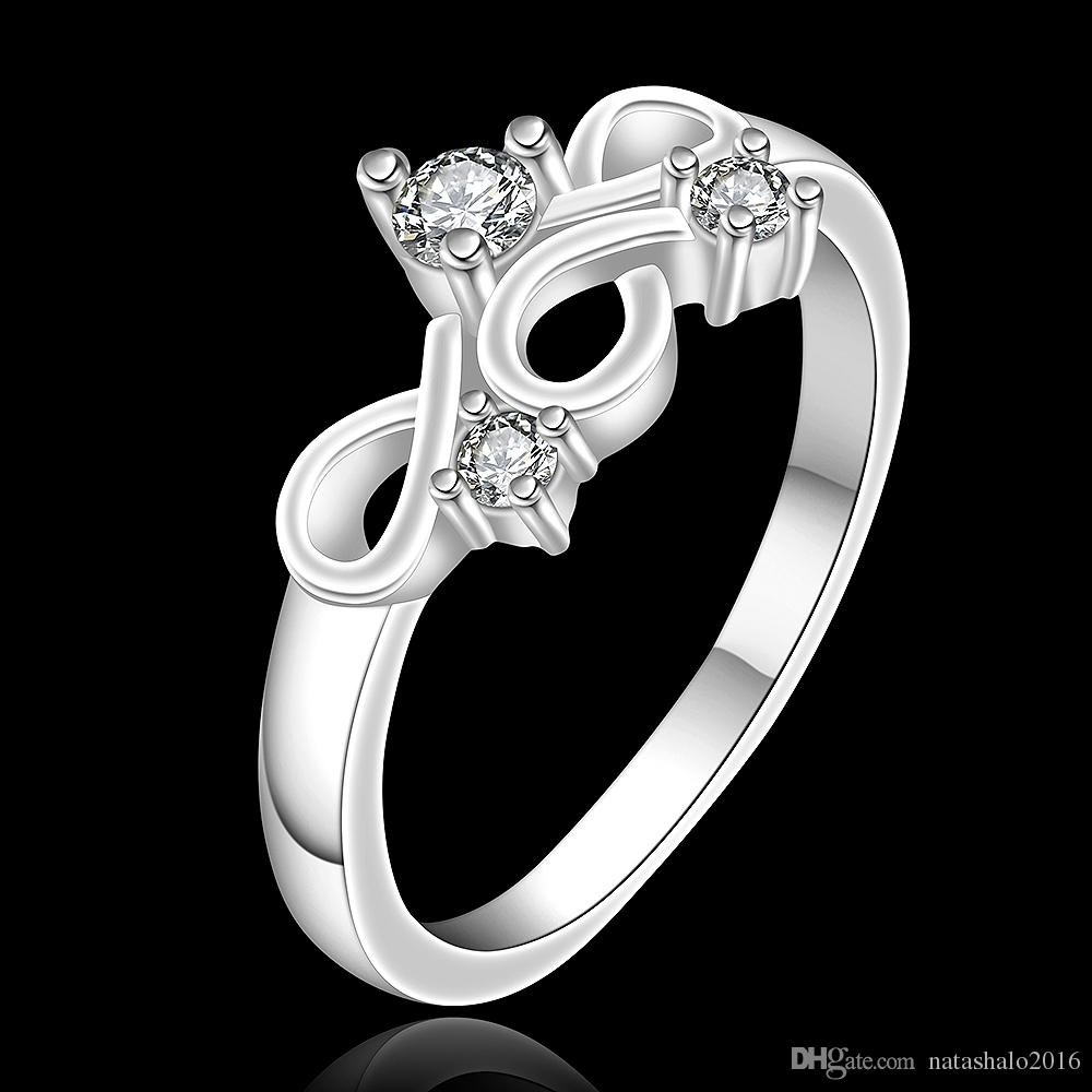 unique design women wedding rings with box chinese knot shape female silver ring party engagement jewelry for lady wholesale gift rg 067 - Female Wedding Rings