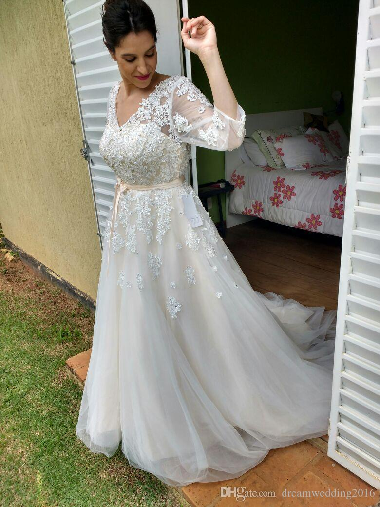 Vintage lace sheath wedding dresses half long sleeves for Western vintage wedding dresses