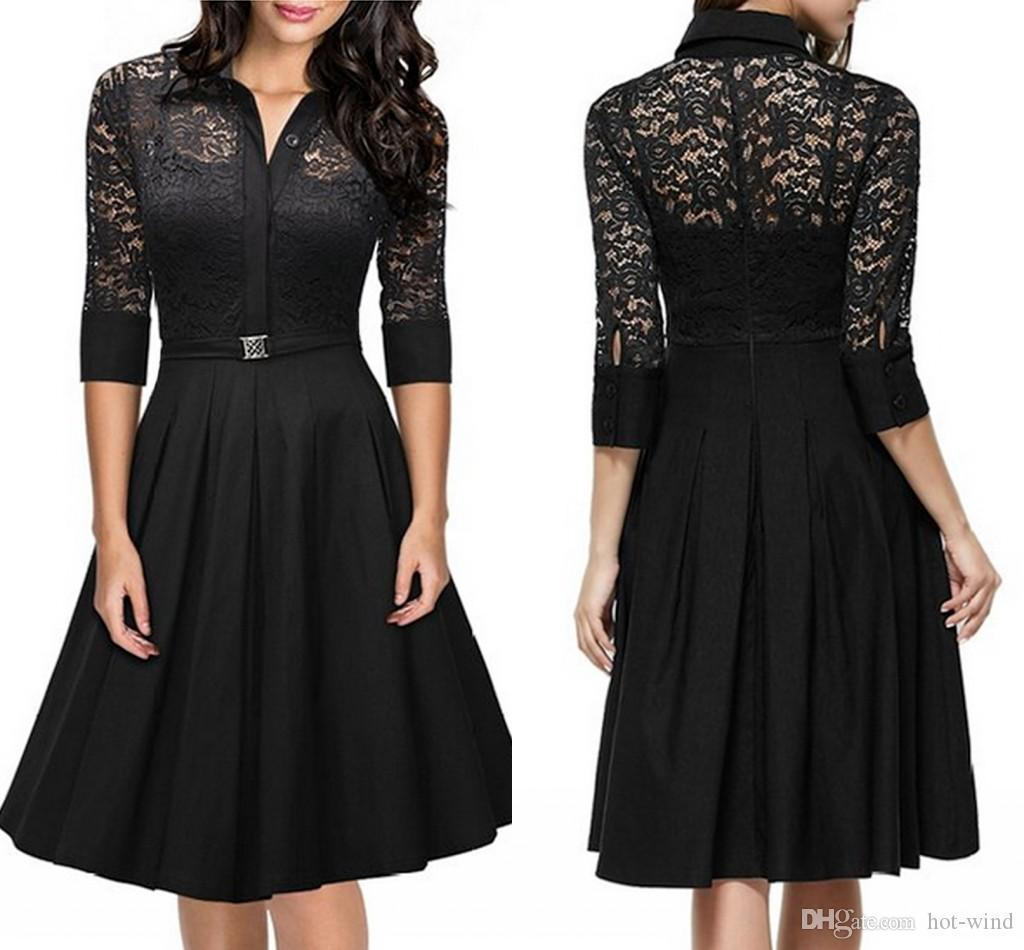 1/2 Long Sleeves A Line Black Lace Women Dresses Spring Autumn ...