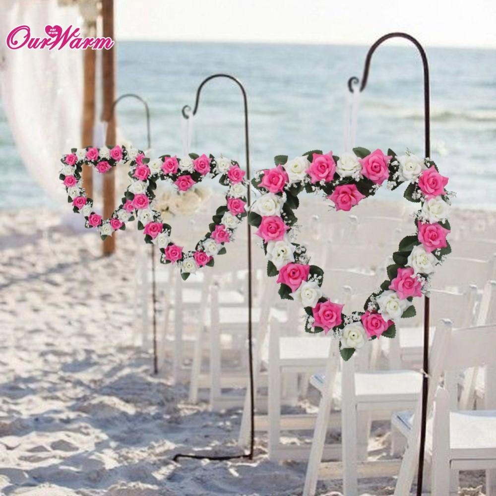 Beach Wedding Car Decoration Heart Rose Wreath Door Wall Hanging Silk Ribbon Artificial Garland Home Decor Household Adornment Flower