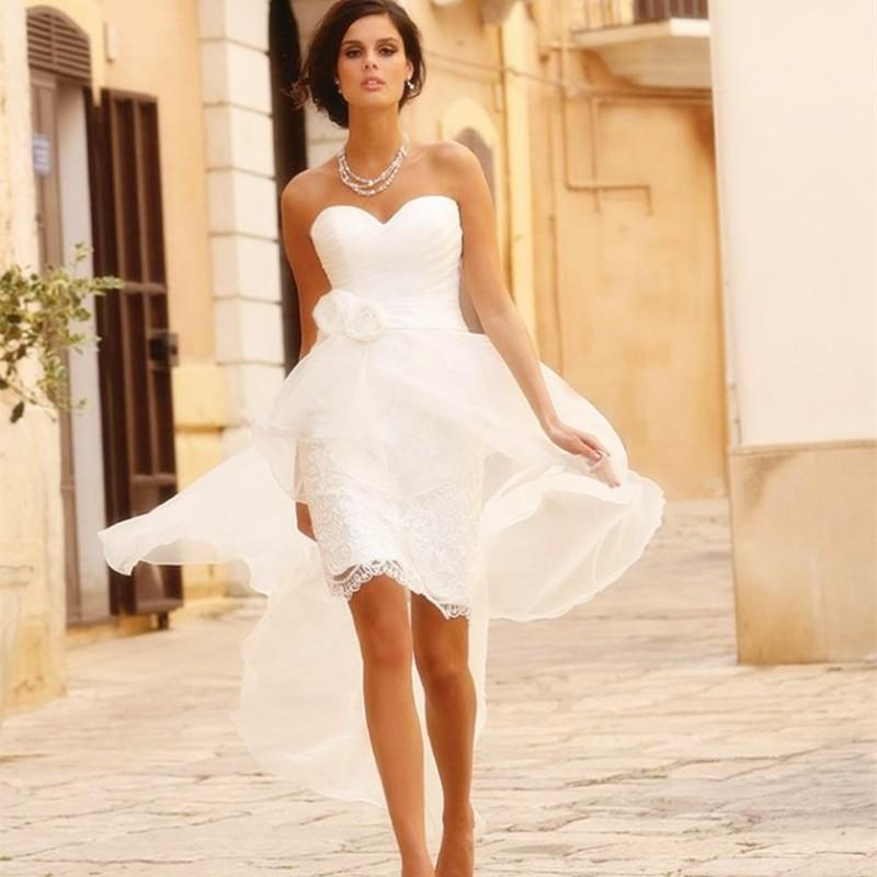 White lace appliques short sheath beach wedding dress for Short white summer wedding dresses