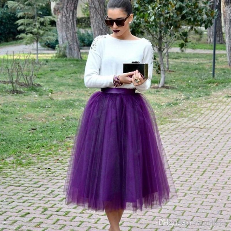new arrival 2017 plus size purple tulle skirt midi tulle tutu