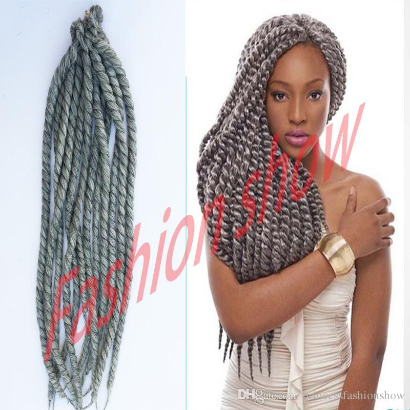 Crochet Braids For Gray Hair : silver grey Havana mambo twist 22 130g/pack crochet braids hair Ombre ...