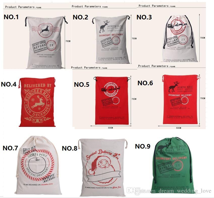Christmas Large Canvas 50*70cm Santa Claus Drawstring Bag With Reindeers Monogramable Christmas Gifts Sack Bags free shipping CC04