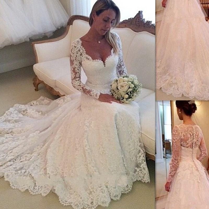 2016 full lace wedding dresses long sleeves trumpet style for Full sleeve lace wedding dress