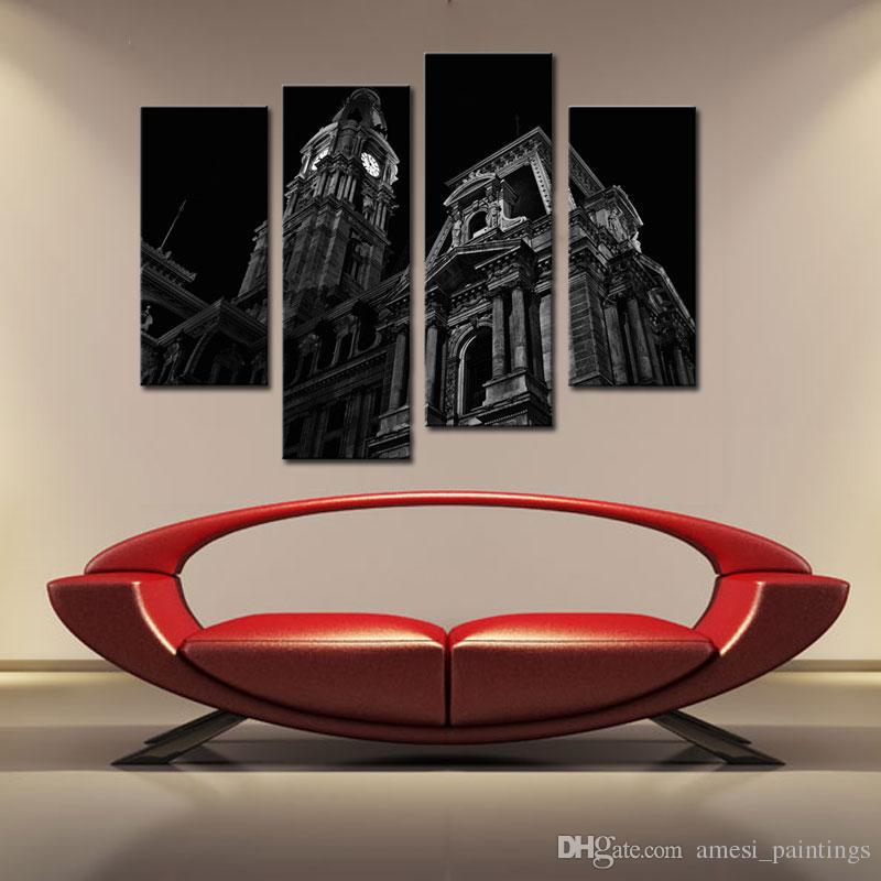 Canvas Wall Clock Design : Panle black white wall art paintings of britain london