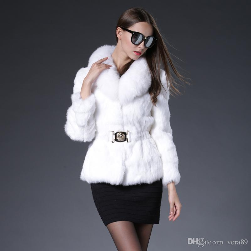 2016 New 100% Real Rabbit Fur Jacket Belt Coat Rabbit Fur Black ...