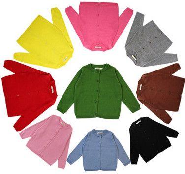 Ins Baby Girls Sweater Coat Round Collar Sweater Girls Cotton