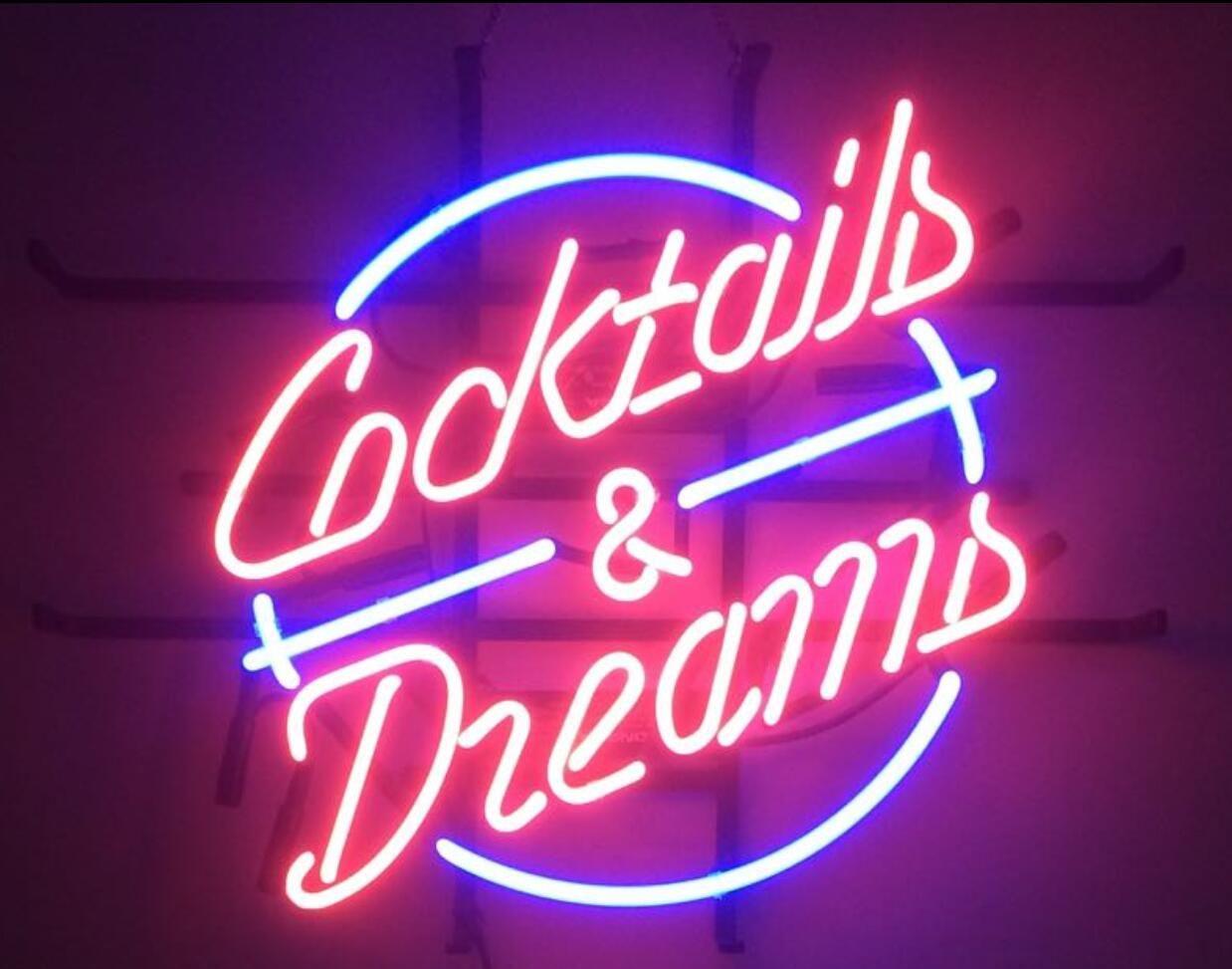 2017 new cocktails and dreams light glass neon sign light. Black Bedroom Furniture Sets. Home Design Ideas