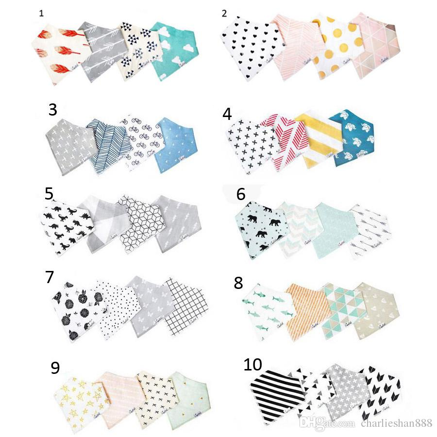 4Pcs / Lot 10 Styles INS Bébé Burp Bandana Bibs coton doux Kids Toddler Triangle