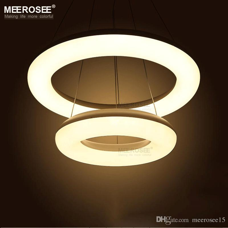 2 Rings LED Pendant Light Fixture Modern White Acrylic LED