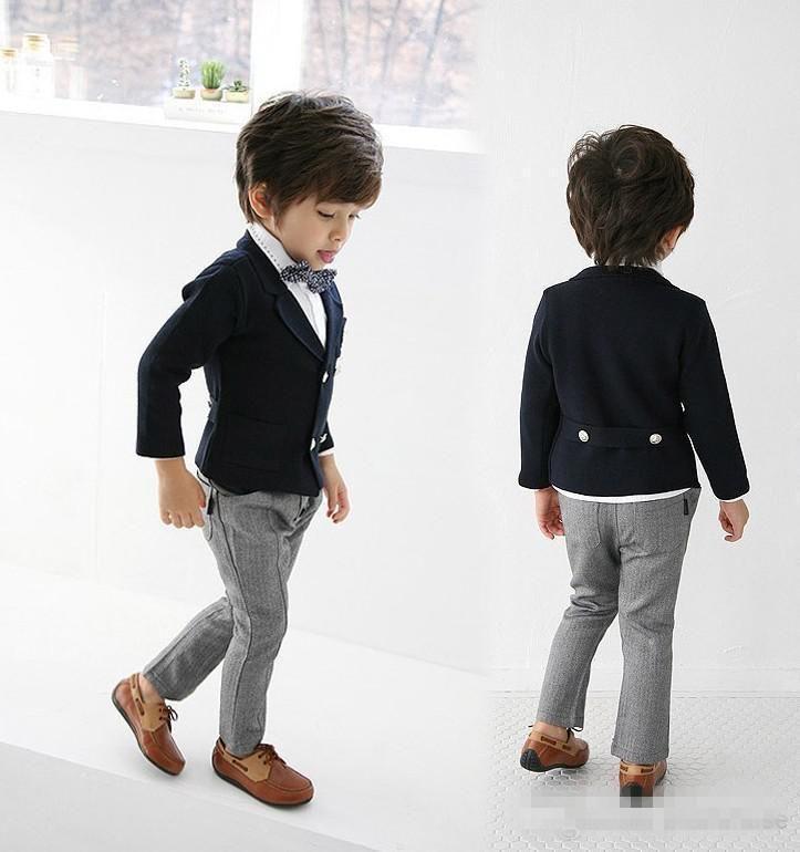 The Flower Boy Navy And Gray Dress Suit Children Show Fashion Show Children Take SuitsJacket ...