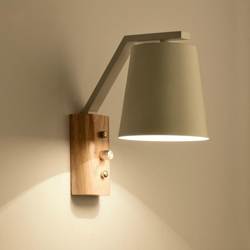 2017 nordic wood art wall lamps creative modern minimalist for Minimalist bedroom lighting