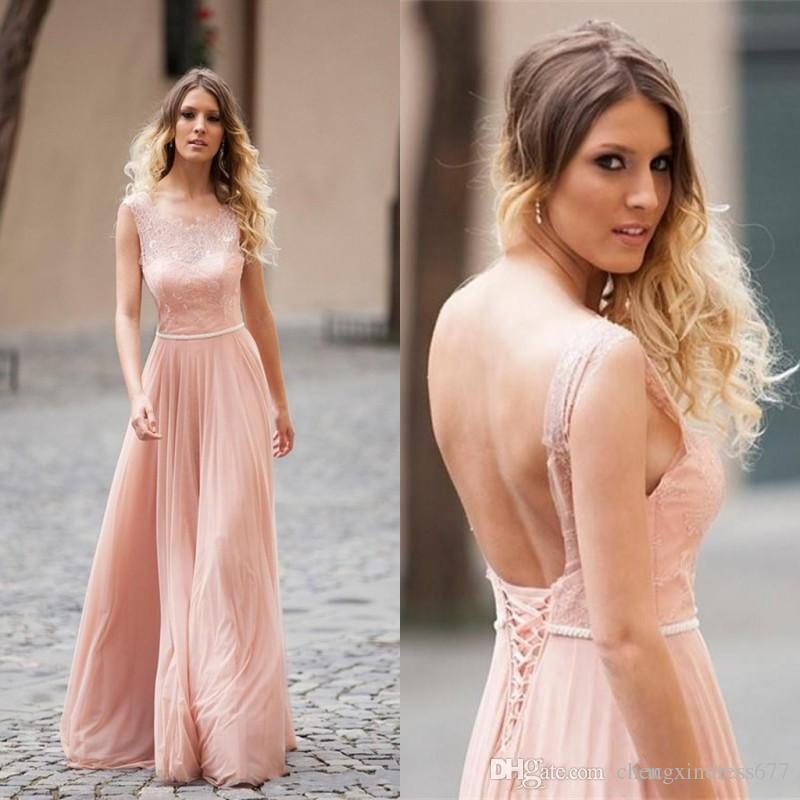 Blush Pink Cheap Wedding Guest Bridesmaid Dresses 2016